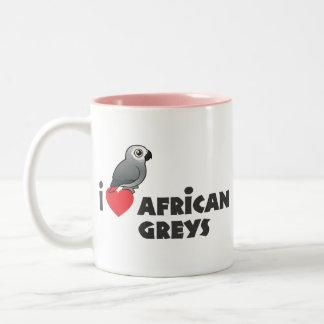 I Heart African Greys Two-Tone Coffee Mug