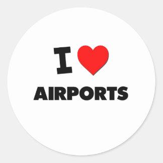 I Heart Airports Classic Round Sticker