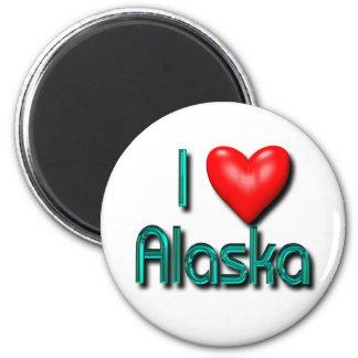 I Heart Alaska 2 Inch Round Magnet