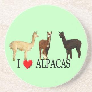 "I ""Heart"" Alpacas Drink Coaster"