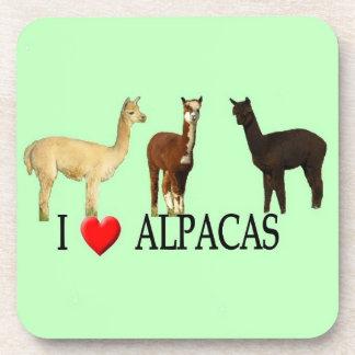 "I ""Heart"" Alpacas Beverage Coasters"