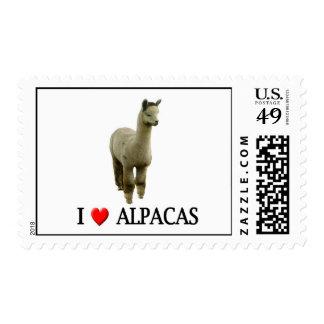 "I ""heart"" alpacas postage stamps"