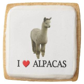 "I ""Heart"" Alpacas Square Shortbread Cookie"