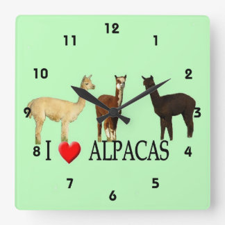 "I ""Heart"" Alpacas Square Wall Clock"