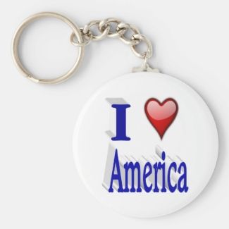 I Heart America 3D Key Chains, Red & Blue