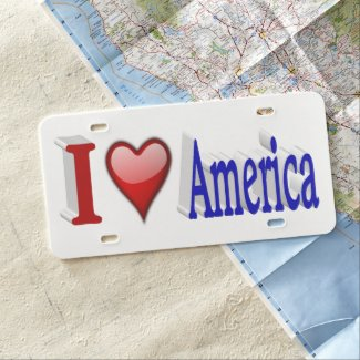 I Heart America 3D License Plate, Red & Blue