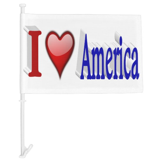 I Heart America 3D Patriotic Car Flags