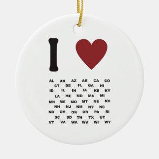 I heart America Ceramic Ornament