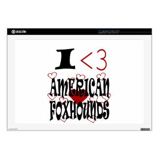 """I Heart American Foxhounds Skin For 17"""" Laptop"""