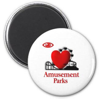 I Heart Amusement Parks 2 Inch Round Magnet