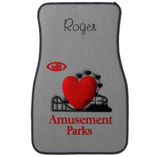 I Heart Amusement Parks Custom Name Floor Mats