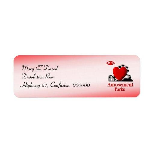 I Heart Amusement Parks Custom Return Address Labels