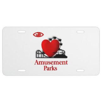 I Heart Amusement Parks License Plate