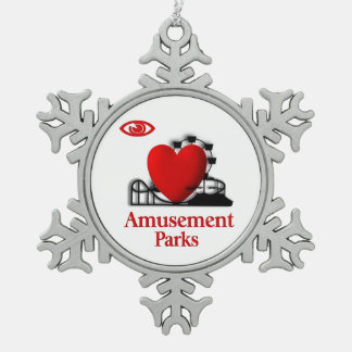 I Heart Amusement Parks Pewter Snowflake Ornament