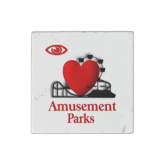 I Heart Amusement Parks Stone Magnet