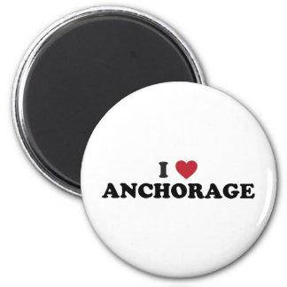 I Heart Anchorage Alaska 2 Inch Round Magnet