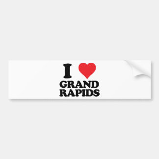 i heart and love grand rapids, michigan bumper sticker