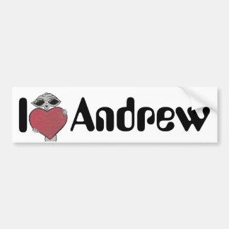 I Heart Andrew Alien Bumper Sticker