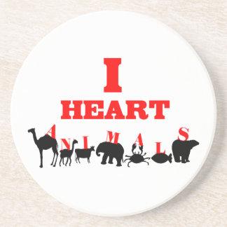 I Heart Animals Drink Coaster