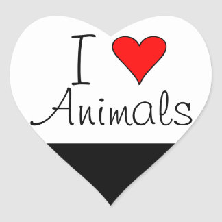 I heart animals heart sticker