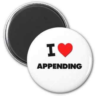I Heart Appending 2 Inch Round Magnet