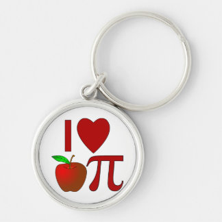 I Heart Apple Pi Silver-Colored Round Keychain