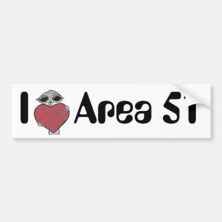 I Heart Area 51 Alien Bumper Sticker