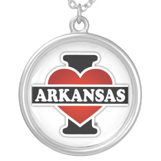 I Heart Arkansas Silver Plated Necklace