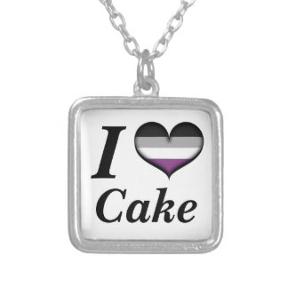 I Heart Asexual Cake Square Pendant Necklace