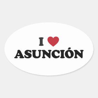 I Heart Asuncion Paraguay Oval Sticker