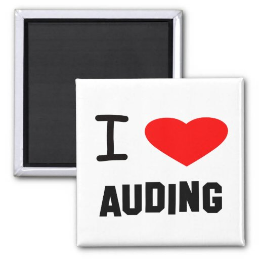 I Heart auding 2 Inch Square Magnet