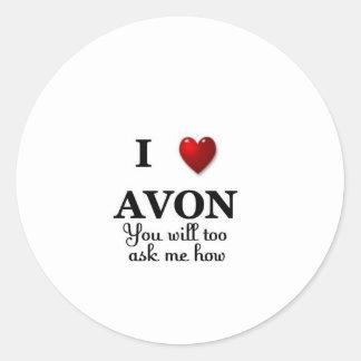 i heart avon - ask how classic round sticker