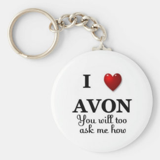 i heart avon ask me how basic round button keychain