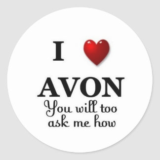 i heart avon ask me how classic round sticker