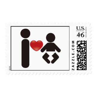 I Heart Baby Postage Stamps