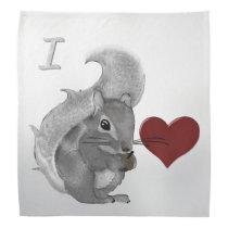 I Heart Baby Squirrels Fuzzy Animal Bandana