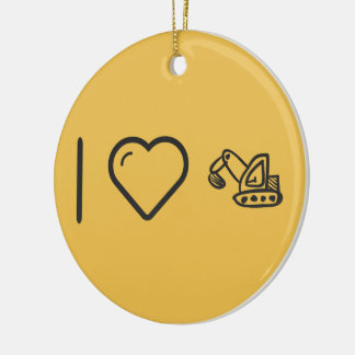 I Heart Backhoe Loaders Double-Sided Ceramic Round Christmas Ornament