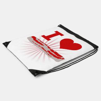 I Heart Bacon Drawstring Bag