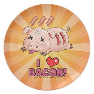 I Heart Bacon with Cute Funny Pig Party Plate