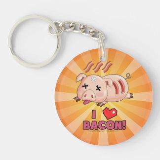 I Heart Bacon with Kawaii Funny Pig Single-Sided Round Acrylic Keychain
