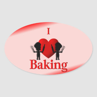 I Heart Baking Bakers Oval Stickers