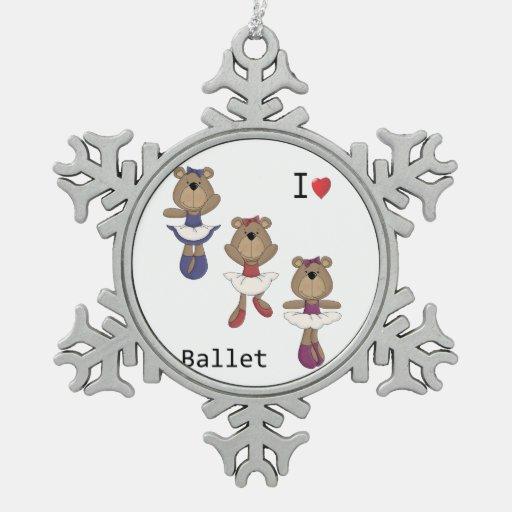 I Heart Ballet Bear Ballerina's Ornament