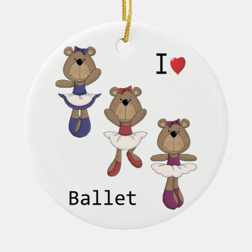 I Heart Ballet Bear Ballerina's Christmas Ornaments