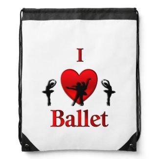 I Heart Ballet Dance Cinch Bag