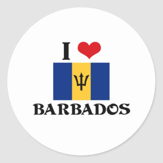 I HEART BARBADOS ROUND STICKER