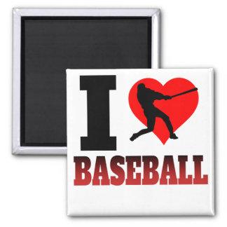 I Heart Baseball 2 Inch Square Magnet