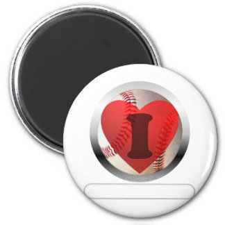 I HEART Baseball- add your words 2 Inch Round Magnet