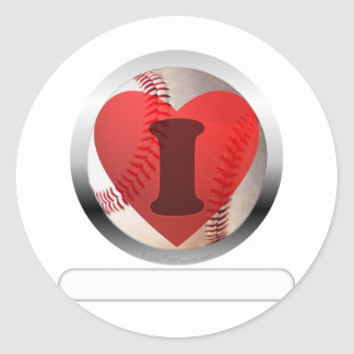 I HEART Baseball- add your words Classic Round Sticker