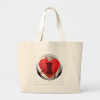 I HEART Baseball- add your words Large Tote Bag