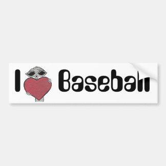 I Heart Baseball Alien Bumper Sticker